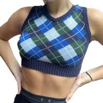Blue Diamond Print Crop Tank Sweater TQK271201-5