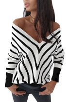 White V Neck Popper Cuff Striped Casual Sweater LC272121-1