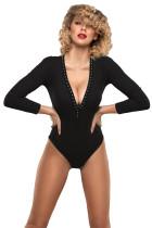 Risk It Black Studded Bodysuit LC32600-2