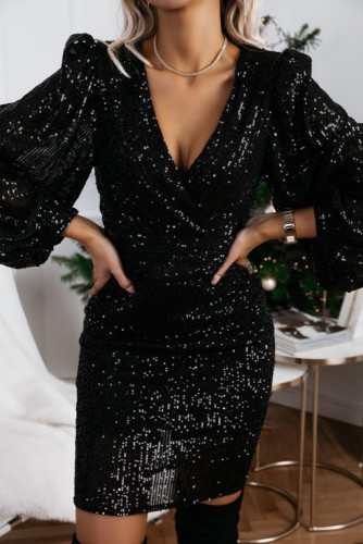 Black V Neck Balloon Sleeve Bodycon Glitter Sequin Dress LC222999-2