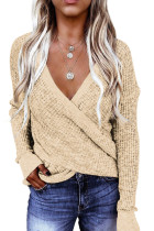 Apricot Deep V-neck Long Sleeve Knit Sweater LC272014-18