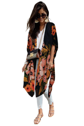 Black Kimono Sleeve Floral Print Graceful Cover Up LC254281-2
