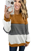 Orange Colorblock Stripes Patchwork Sweatshirt LC2534337-14