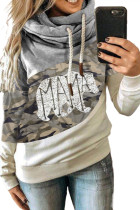 MAMA Camo Print Accent Colorblock Splicing Hoodie LC2533642-11