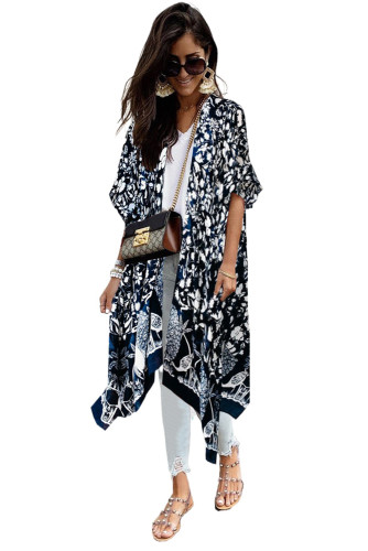 Blue Kimono Sleeve Floral Print Graceful Cover Up LC254281-5