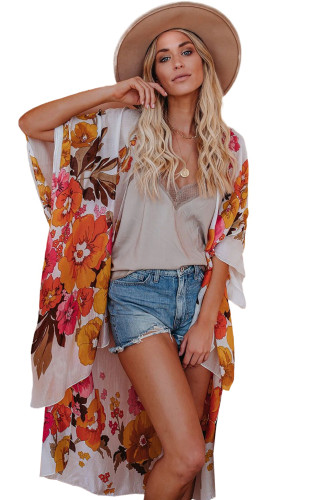 Kimono Sleeve Floral Print Graceful Cover Up LC254281-1