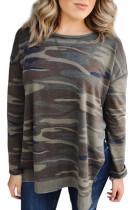 Oversize Camo Print Side Slits Hi-lo Hemline Sweatshirt LC2532092-9