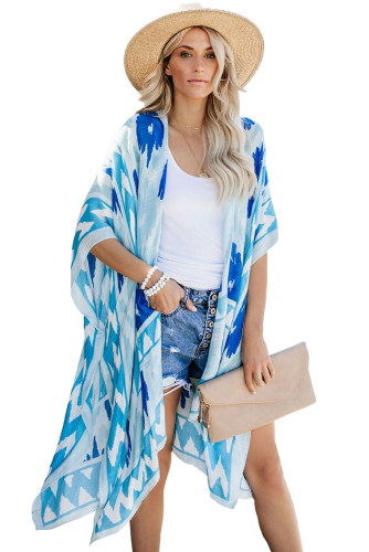 Sky Blue Kimono Sleeve Floral Print Graceful Cover Up LC254281-4