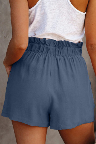 Blue Ruffled Tied Waist Solid Shorts LC771023-5