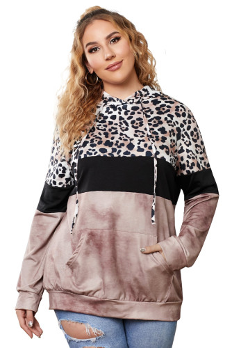 Brown Leopard Splicing Colorblock Plus Size Hoodie with Pocket LC253676-17