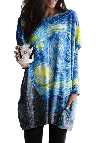 Blue Star Printing Long Sleeve Tunic Top With Two Side Pockets LC2531457-105