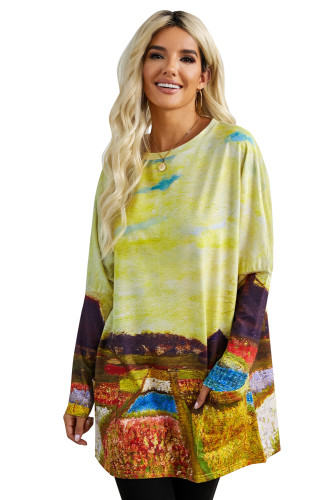 Multi-color Field Printing Long Sleeve Tunic Top With Two Side Pockets LC2531457-1022