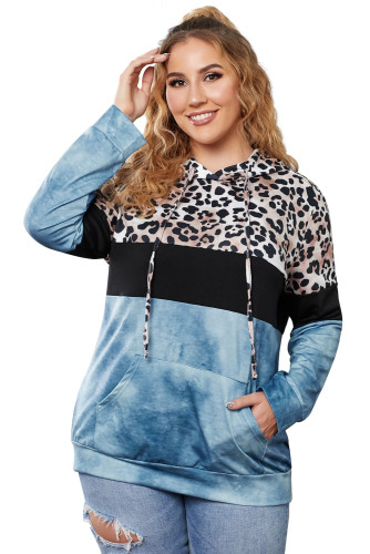 Blue Leopard Splicing Colorblock Plus Size Hoodie with Pocket LC253676-5