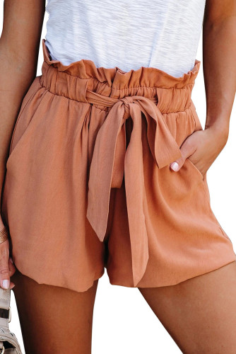 Orange Ruffled Tied Waist Solid Shorts LC771023-14