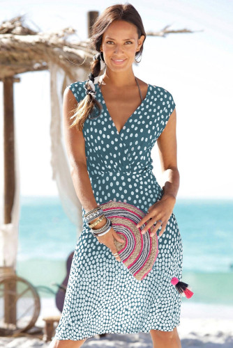 Sky Blue Gradient Polka Dot V Neck Sleeveless Beach Dress LC42323-4