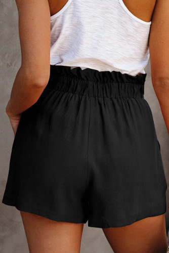 Black Ruffled Tied Waist Solid Shorts LC771023-2