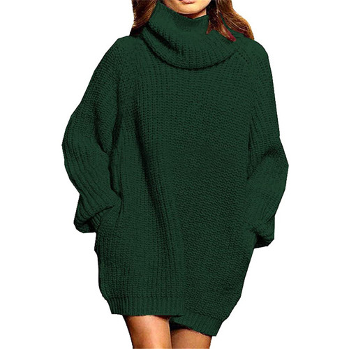 Dark Green High Collar Pocket Fashion Style Long Sleeve Sweater Dress TQK310422-36