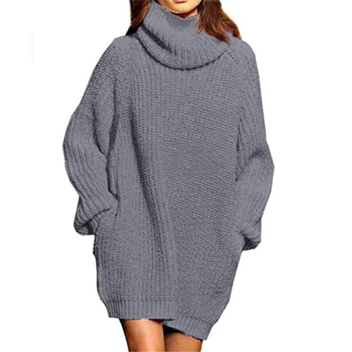 Gray High Collar Pocket Fashion Style Long Sleeve Sweater Dress TQK310422-11