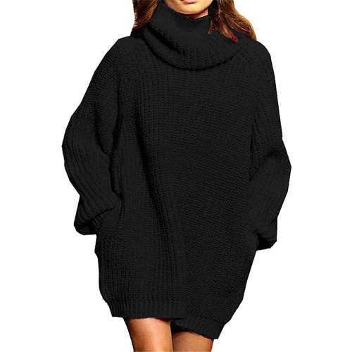 Black High Collar Pocket Fashion Style Long Sleeve Sweater Dress TQK310422-2