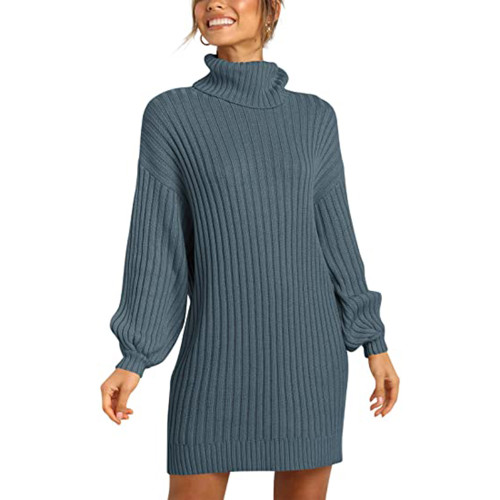 Dark Blue High Collar Knit Long Sleeve Sweater Dress TQK310421-34