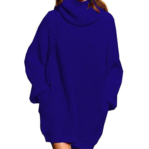 Blue High Collar Pocket Fashion Style Long Sleeve Sweater Dress TQK310422-5