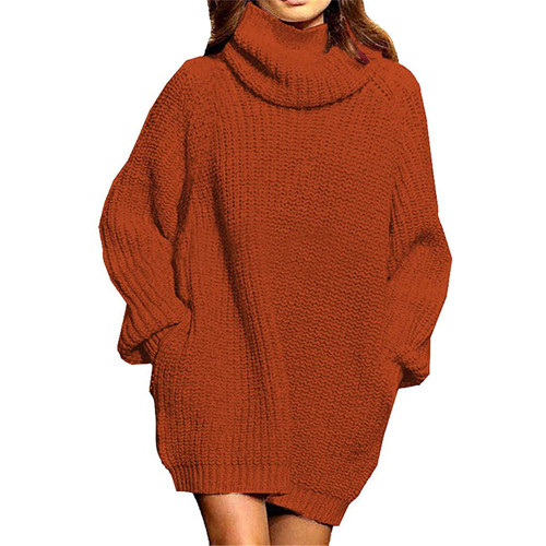 Rust Red High Collar Pocket Fashion Style Long Sleeve Sweater Dress TQK310422-33