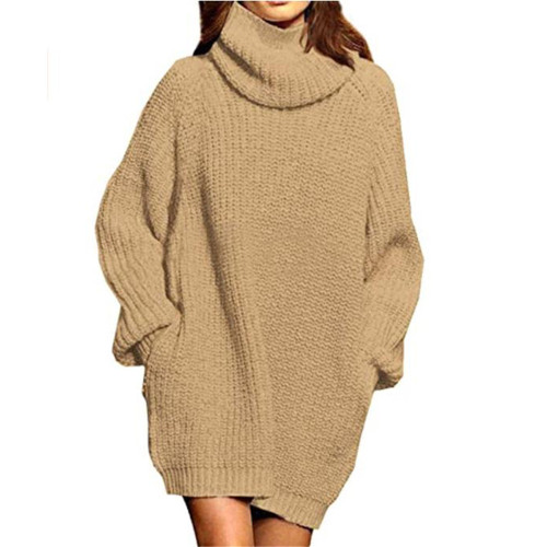 Khaki High Collar Pocket Fashion Style Long Sleeve Sweater Dress TQK310422-21