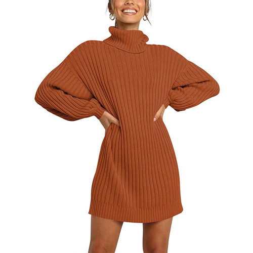 Brick Red High Collar Knit Long Sleeve Sweater Dress TQK310421-33