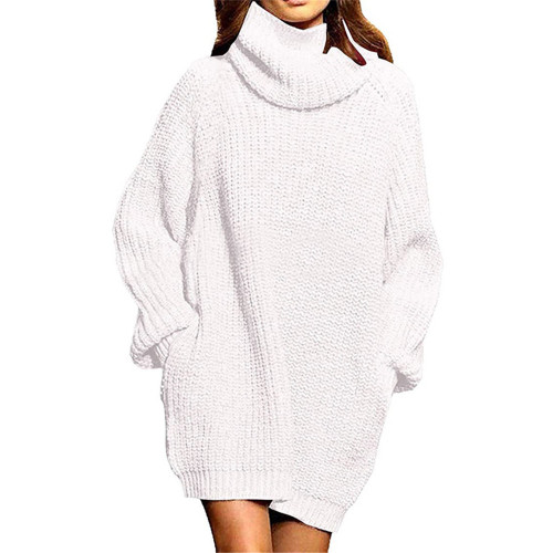White High Collar Pocket Fashion Style Long Sleeve Sweater Dress TQK310422-1