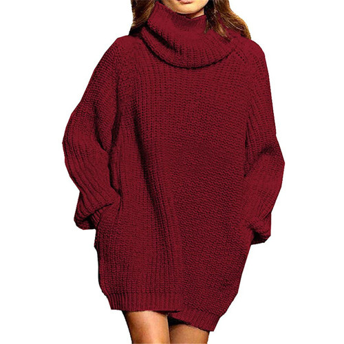 Wine Red High Collar Pocket Fashion Style Long Sleeve Sweater Dress TQK310422-103