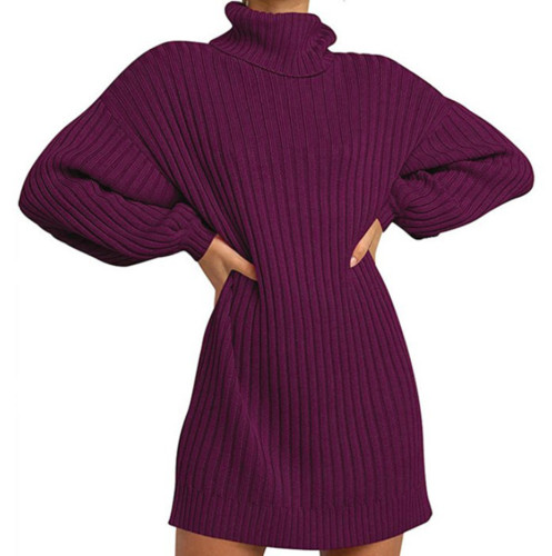 Purplish Red High Collar Knit Long Sleeve Sweater Dress TQK310421-32