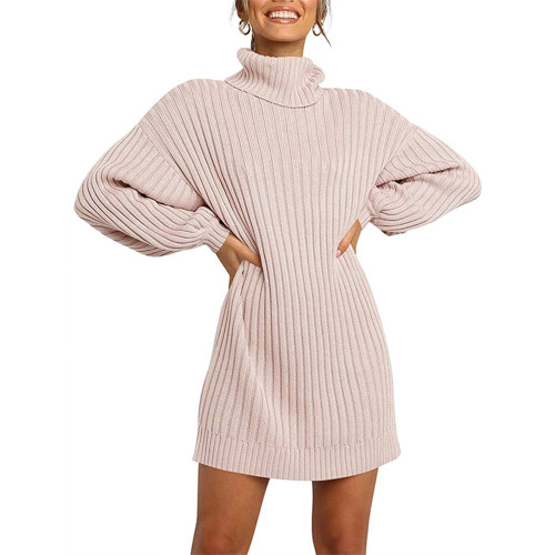 Light Pink High Collar Knit Long Sleeve Sweater Dress TQK310421-39