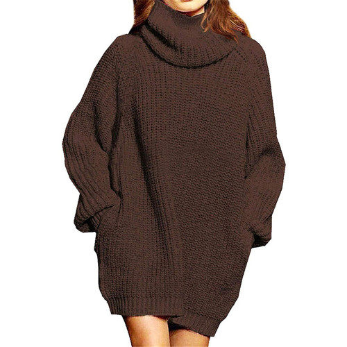 Brown High Collar Pocket Fashion Style Long Sleeve Sweater Dress TQK310422-17