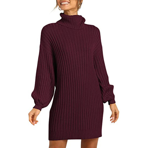 Wine Red High Collar Knit Long Sleeve Sweater Dress TQK310421-103