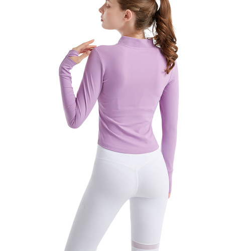 Purple Zipper Long Sleeve Tight Sport Jacket TQE38043-8