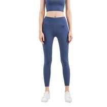Ink Blue Zipper Pocket Slim Fit Yoga Pants TQE57048-81