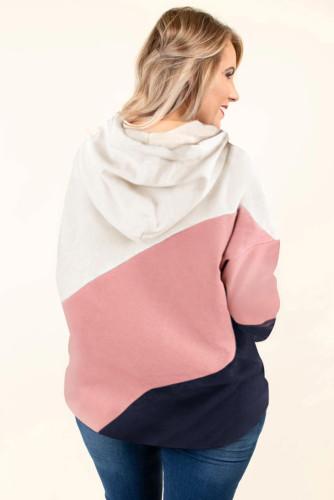 Pink Colorblock Kangaroo Pocket Plus Size Hoodie LC253672-10