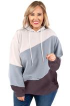 Green Colorblock Kangaroo Pocket Plus Size Hoodie LC253672-9