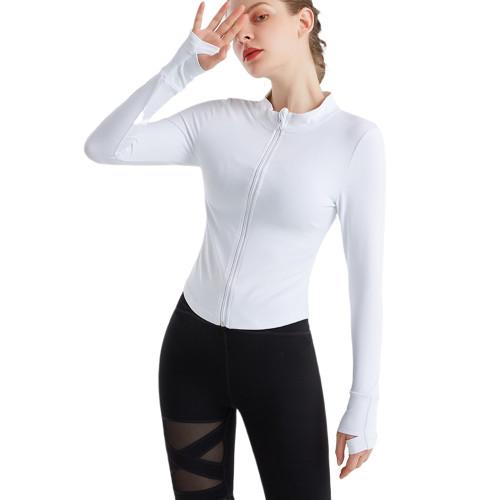 White Zipper Long Sleeve Tight Sport Jacket TQE38043-1