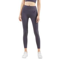 Ash Purple Zipper Pocket Slim Fit Yoga Pants TQE57048-88