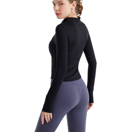 Black Zipper Long Sleeve Tight Sport Jacket TQE38043-2