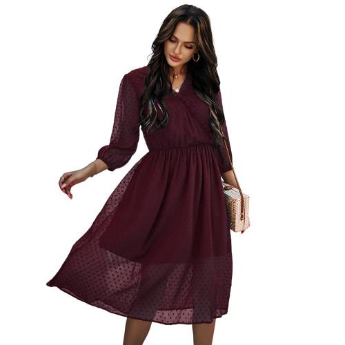Wine Red V Neck 3/4 Sleeve Slim Waist Chiffon Dress TQK310466-103