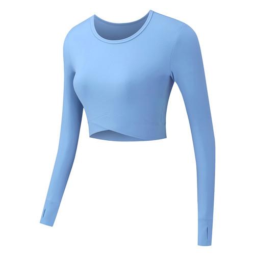 Starlight Cross Hem Long Sleeve Sportswear Crop Tops TQE29054-105
