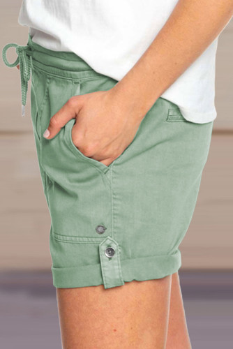 Green Elastic Waistband Pocket Drawstring Shorts with Button LC771038-9