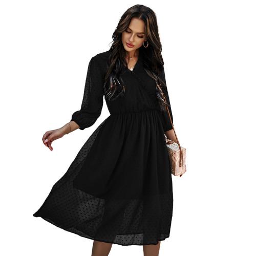 Black V Neck 3/4 Sleeve Slim Waist Chiffon Dress TQK310466-2