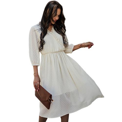 White V Neck 3/4 Sleeve Slim Waist Chiffon Dress TQK310466-1