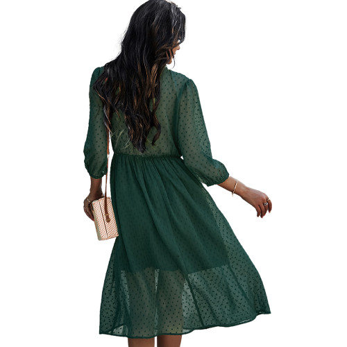 Green V Neck 3/4 Sleeve Slim Waist Chiffon Dress TQK310466-9