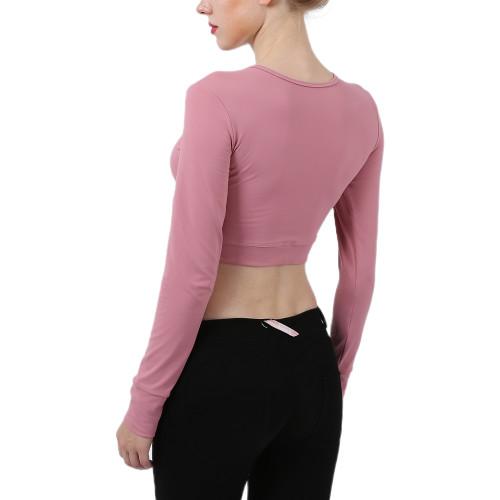 Rouge Powder Cross Hem Long Sleeve Sportswear Crop Tops TQE29054-111