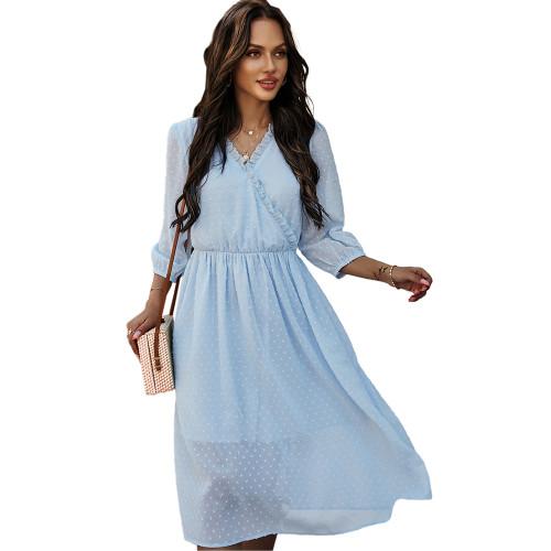 Light Blue V Neck 3/4 Sleeve Slim Waist Chiffon Dress TQK310466-30