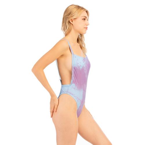 Light Purple Tie Dye Discoloration Backless One-piece Swimwear TQK620106-38